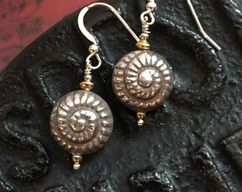 Bali sterling silver earrings with gold accents