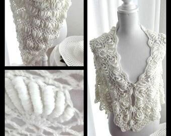 White crochet scarf, shawl bridal shawl in bullion stitch
