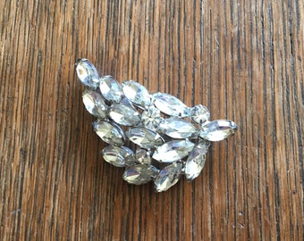 Vintage Rhinestone Leaf Shaped Brooch