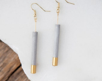 Concrete Cylinder Earrings (Gold)