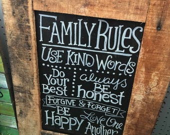 Family rule sign rustic