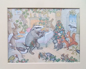"""Molly Brett Vintage Print dated c1970 in new Ivory 10"""" x 8"""" mount-ready to frame"""