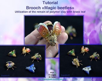 "Polymer clay tutorial ""Brooch magic beetles"" PDF tutorial Digital turorial PDF format Beetles tutorial Brooch tutorial"