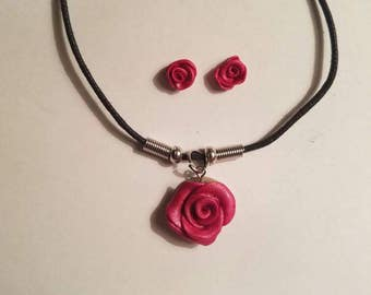 Rose earrings and necklace set