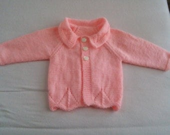 Hand knitted baby cardigan girl