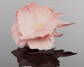 Fabric Flower Brooch - Silk Flower Brooch - Pink Brooch - Silk Brooch - Floral Brooch - Silk Flower Pin - Pearls Brooch