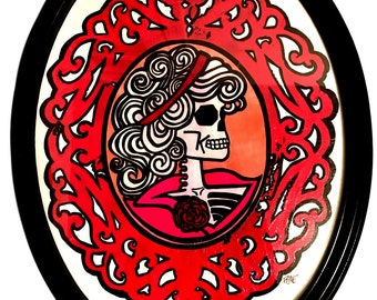 One of a Kind Hand Painted 22'' x 17''  '' Death Be To Cameo'' Wood  Framed Wall Art            *000-1032-Ellerdesign