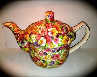 Vintage James Kent Du Barry pattern teapot