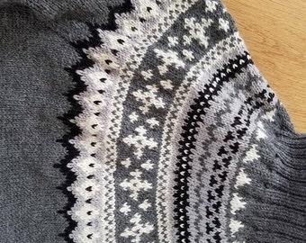 Baidur, Scandinavian hand made sweater, white, grey, black, knit, genuine,  warm, turtleneck, soft, traditional, quality, wool, folk