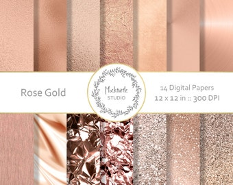 Rose Gold digital paper - Rose Gold clipart - Metallic Scrapbook paper - Rose Gold Digital Paper - Rose Gold Digital Paper - Commercial use