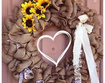 Burlap and shabby chic/farmhouse style wreath