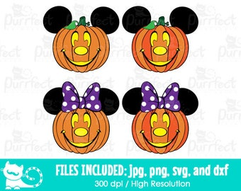 Mickey and Minnie Pumpkin SVG, Disney Halloween Mouse Pumpkin SVG, Disney Digital Cut Files in svg, dxf, png and jpg, Printable Clipart