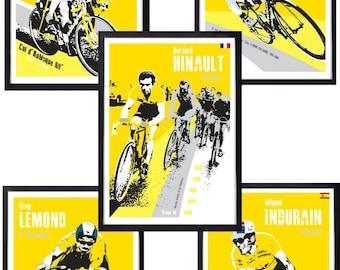 Cycling tour de france legends posters X 5 rider prints unframed.
