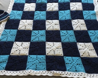 Little Boy Blue baby blanket and hat