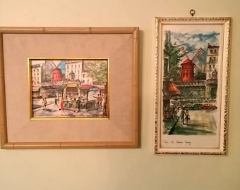 Vintage Mid Century Arno Paris Prints of Watercolors Set of 2 Moulin Rouge