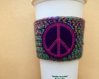 Tye Dye Peace Sign Crochet Coffee Cozy To Go Cup Cozy To Go Cup Sleeve Coffee Lover Gift for Her