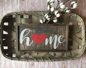 Home sign/heart/rustic sign/wood sign/farmhouse style/homedecor/handmade sign/signs with sayings