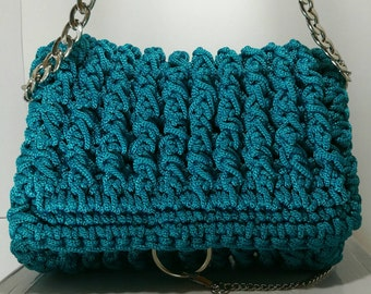 Women's electric Blue handbag with silver chain and details/crochet