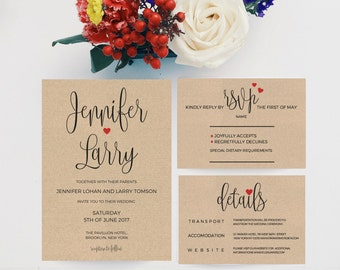 Wedding Invitation Template Download, Wedding Invitations Packages, Printable Wedding Invitation Template, Kraft Wedding Invitation, PDF