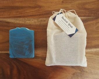 Nautical Splash Soap, Handmade Soap, Cold Process Soap, Masculine Soap, Charcoal Soap, Men's Soap, Vegan Soap, Palm Free Soap, Blue Soap