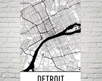 Detroit Map, Detroit Art, Detroit Print, Detroit MI Poster, Detroit Wall Art, Detroit Gift, Map of Detroit, Detroit Poster, Detroit Decor