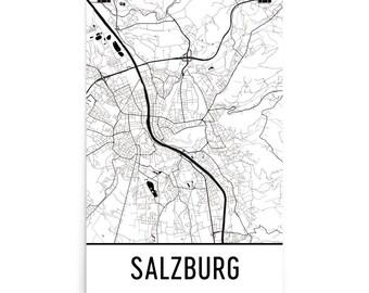 Salzburg Map, Salzburg Art, Salzburg Print, Salzburg Austria Poster, Salzburg Wall Art, Map of Salzburg, Salzburg Poster, Salzburg Gift