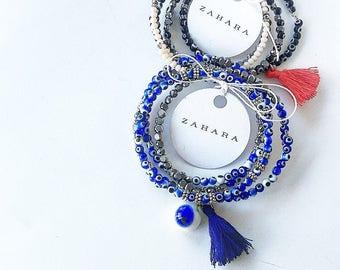 Multi-bracelet, glass, crystal eyes