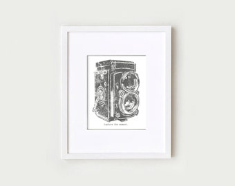 Vintage Camera Printable Art Poster in Dark Gray and White - Last Minute Gift - Wall Quote Prints - 8x10 Digital Download Print Illustration