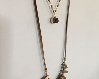 Beaded Druzy Layer Necklace