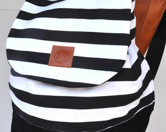 Canvas Backpack ,waist bag , black white stripe bag pack,school back, holiday back,cross body back, canvas shopping back ,holiday gift back,