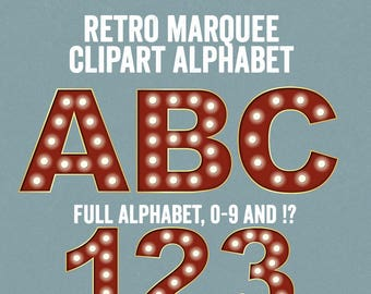 Marquee Alphabet Clipart, Retro Cinema Letter Clip art, ABC marquee letter Clipart, Commercial Use, circus letters alphabet clip art pngs