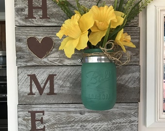 Mason jar, mason jar wall decor, pallet decor, home sign, home wood decor
