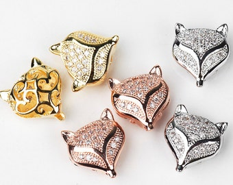 Fox beads, animal beads, Micro Pave Beads / CZ Bead / Clear Cubic Zirconia beads ,14mm ,1pc