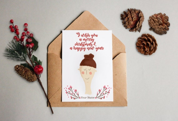 Personalized Christmas card with your face and your name – Geschenkkarte Gift weiss glänzender Kunstdruck