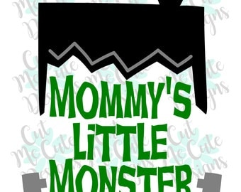 SVG DXF PNG cut file cricut silhouette cameo Halloween Frankenstein Mommy's Little Monster