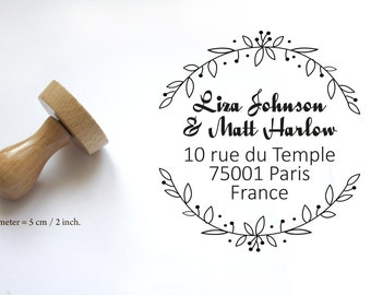 Custom adress or wedding stamp, for personalized save the date, names, to customize your letters, thank You Cards, flowers, wood 2 inches