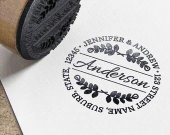 Personalised Circular Return Address Self Inking Rubber Stamp