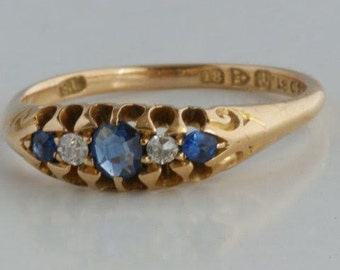 Antique gold ring with sapphires and diamonds from 1901-18 carat gold-Victorian
