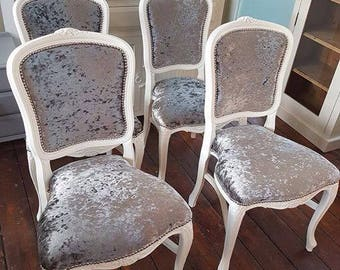 Customise a chair with your own frame & fabric options Louis chair various styles includes crushed velvet  white grey stud trim