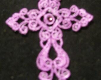 Purple Cross      Bookmark or Ornament