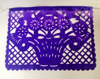 """Papel Picado Plastic Banner Reusable Colorful Large (15"""" Approx.) All  Occasion  9 different flags Mexican Banner"""