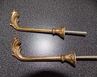 French Brass Curtain tie back hook x 2