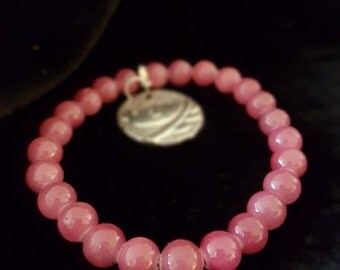 Pink Tourmaline with Silver Plated Bird Charm