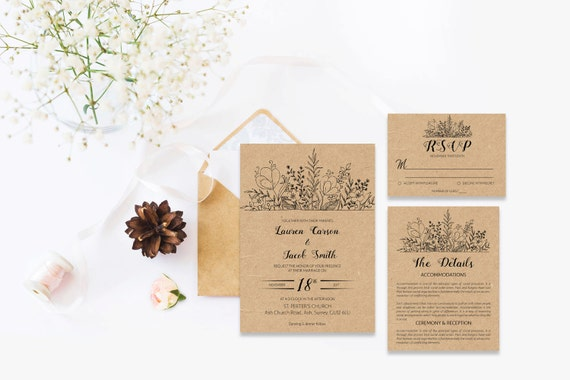 Rustic wedding template invite_8,Printable Wedding Invitation Suite,Wedding Invite Set,Wedding Printable,Calligraphy