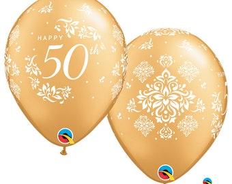 Anniversary balloons, 50th anniversary balloons, Gold anniversary