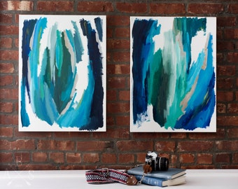 Forms in Blue Diptych - Limited Edition Giclée Fine Art Print