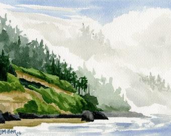 "Oregon coast matted art print, Fog at Neptune Beach, coastal, beach, ocean watercolor painting, 8x10"" print"