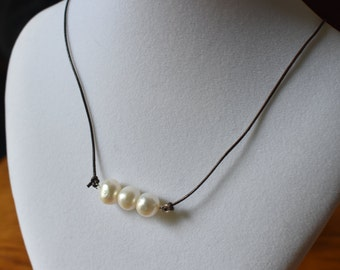 Leather and Freshwater Pearl Necklace