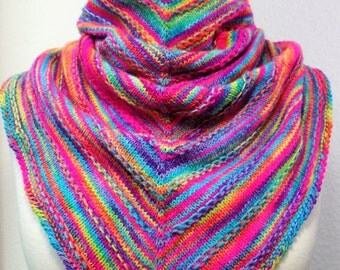 "Shawl ""Hulda"" hand-dyed and fair-trade ""Alegria"" Manos Del Uruguay wool"