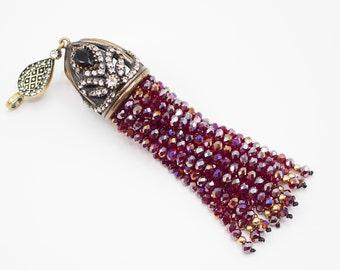 Tassel Pendant with Rose Vale Crystal Stone Jewelled, Authentic Tassel, Turkish Jewellery, Ottoman Tassel, Antique Bronze Tassel Cap, C14